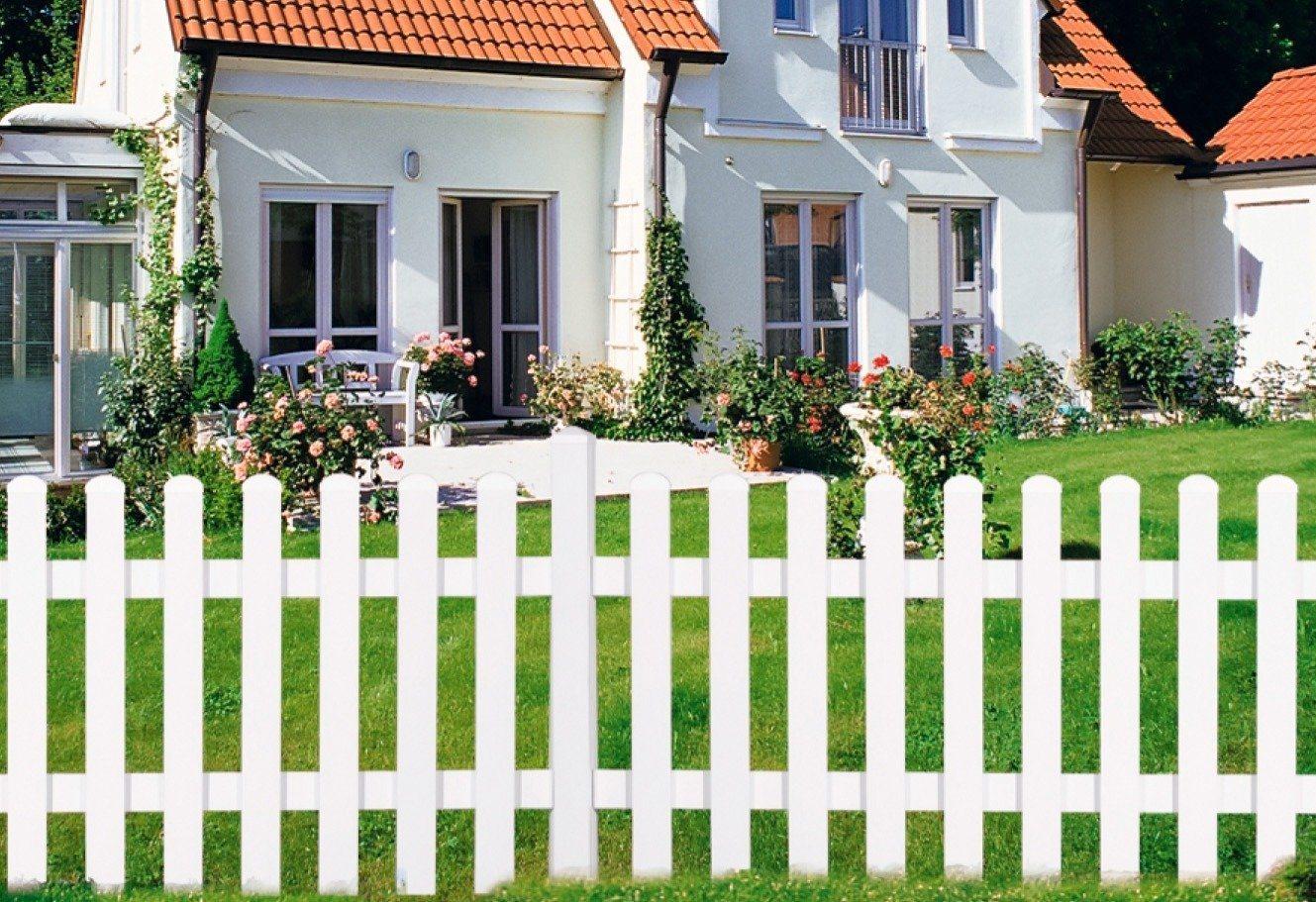 KM Meeth Zaun Gmbh Gartenzaun Zaunelement gerade, weiß (in 2 Größen) | Garten > Zäune und Sichtschutz | KM Zaun