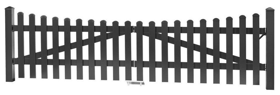 Zaun-Doppeltür mit Unterbogen »328 x 80 cm anthrazit«