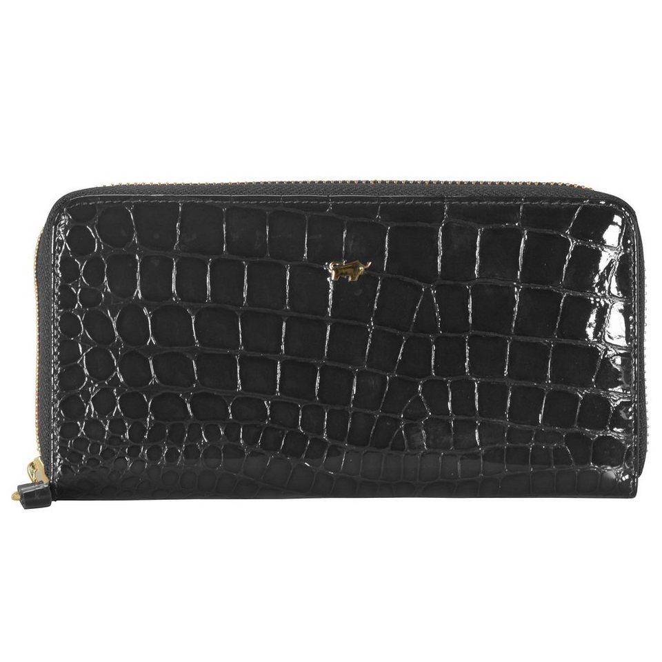 Braun Büffel Glanzkroko Geldbörse Leder 18,5 cm in schwarz