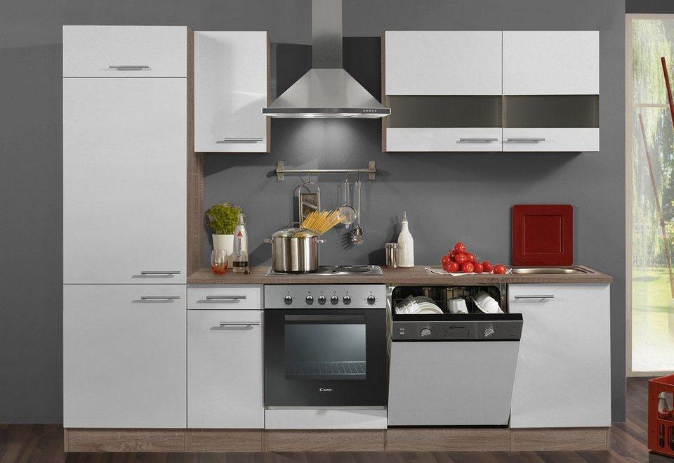 Küchenzeile mit E-Geräten »Rabat«, Breite 270 cm - Set 2 in eichefarben trüffel/weiß