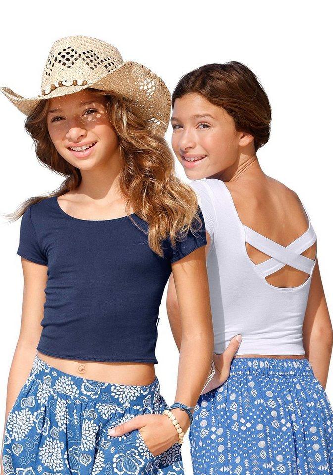 Arizona T-Shirt mit aufwendigem Rückenausschnitt (Packung, 2 tlg.) in weiß-marine