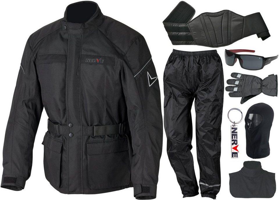 NERVE Motorrad-Komplett-Set (8-tlg.) in schwarz