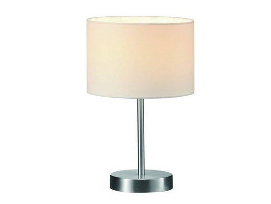 meineWunschleuchte LED Tischleuchte, Designer Bauhaus Lampe, Lampenschirm-e Stoff, Weiß, mit Schnur-Schalter