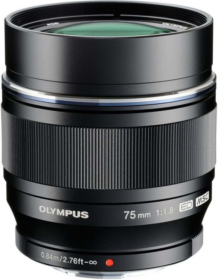 Olympus M.ZUIKO DIGITAL ED 75mm 1:1:8 Festbrennweite Objektiv in schwarz
