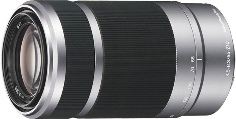 Sony SEL-55210 E55-210 mm F4,5-6,3 OSS Telezoom Objektiv in silberfarben