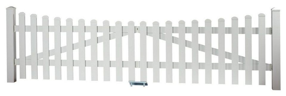 Zaun-Doppeltür mit Unterbogen »328 x 80 cm weiß«