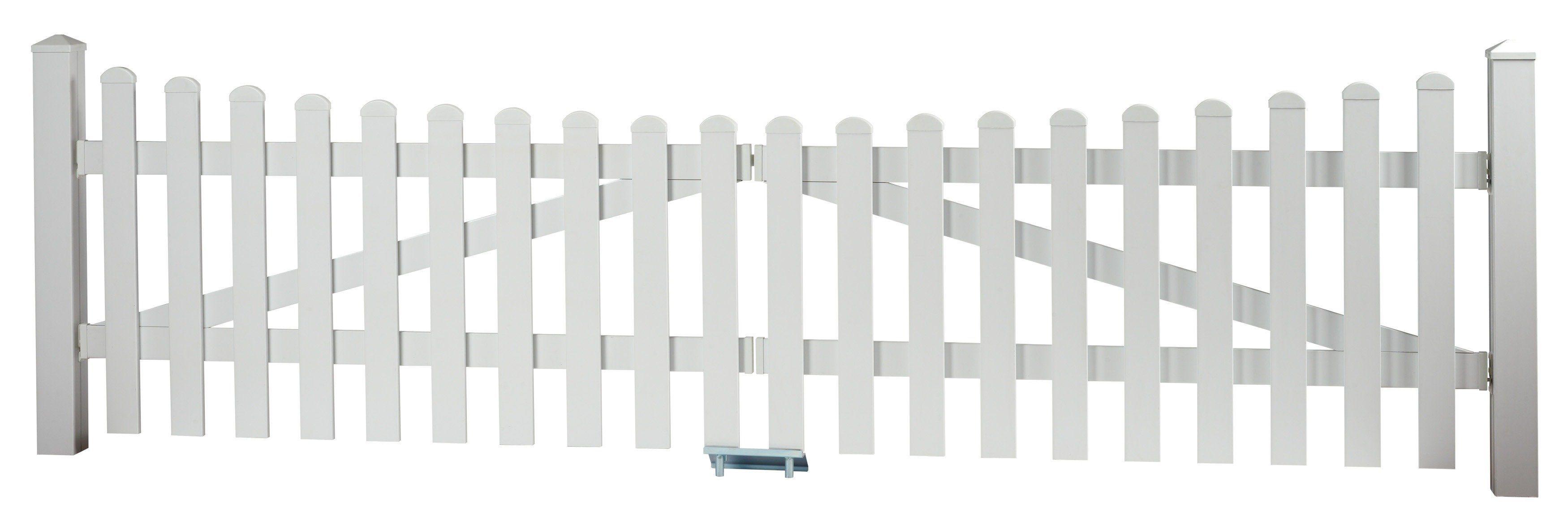 KM Meeth Zaun Gmbh Zaun-Doppeltür mit Unterbogen »328 x 80 cm weiß«