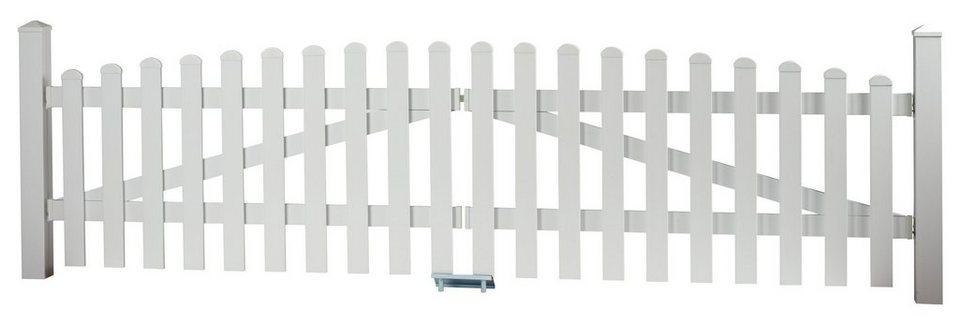 Zaun-Doppeltür mit Oberbogen »328 x 80 cm weiß«