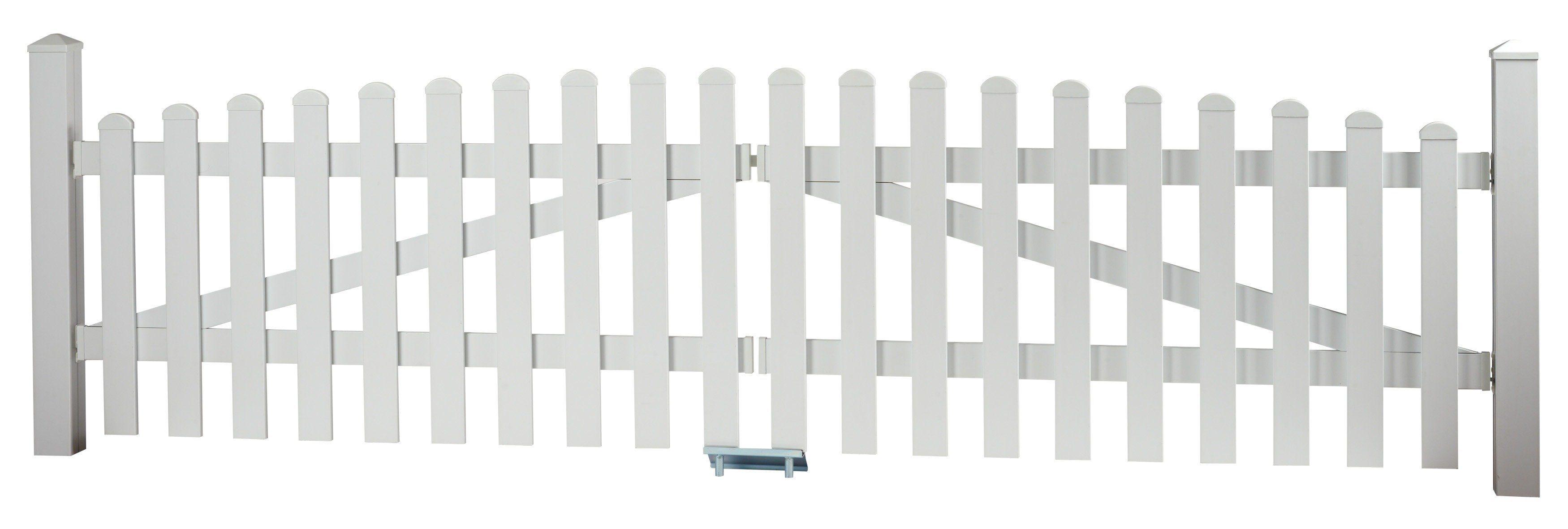 KM Meeth Zaun Gmbh Zaun-Doppeltür mit Oberbogen »328 x 80 cm weiß«