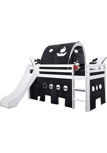 Hoppekids Halbhohes Bett inkl. Rutsche mit Absturzschutzseiten Pirat   