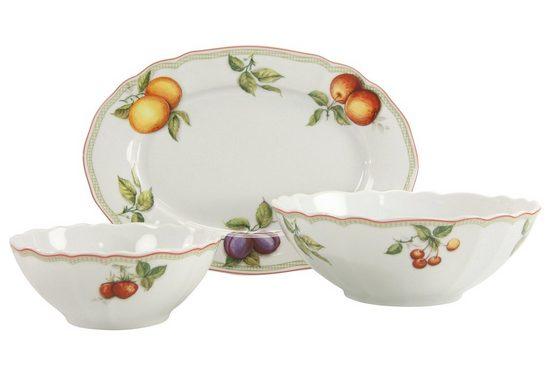 CreaTable Servier-Set »Flora Orchard«, Porzellan, (Set, 1 Platte, 2 Schüsseln)