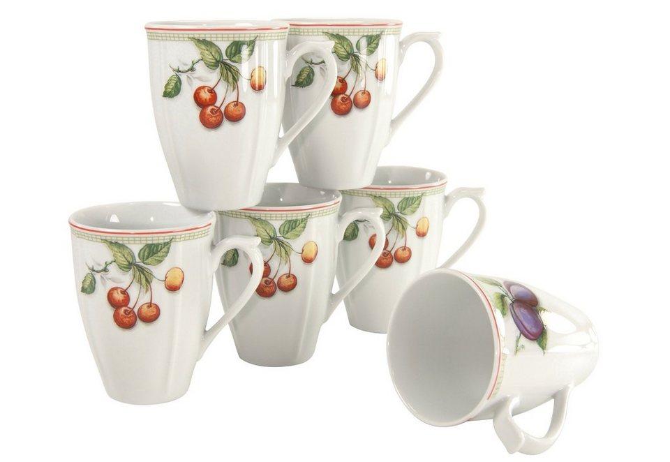 Kaffeebecher, 6er Set, »Flora Orchard« in weiß mit Obstdekor