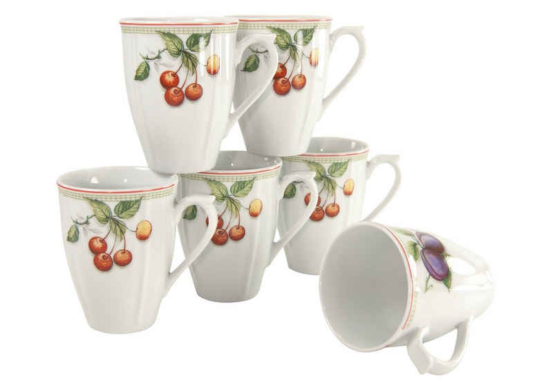 CreaTable Becher »Flora Orchard«, Porzellan, 6-teilig
