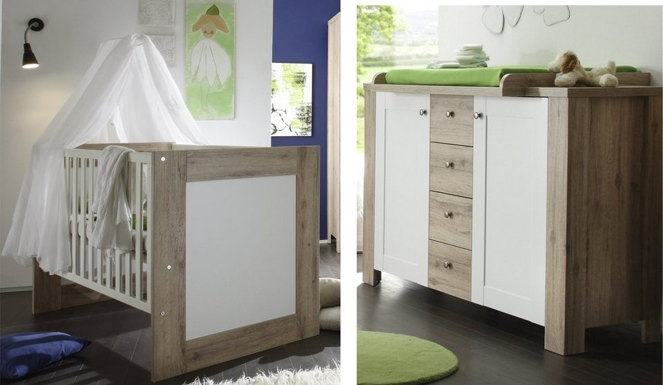 babyzimmer spar set bett und wickelkommde lupo in sanremo hell wei matt online kaufen otto. Black Bedroom Furniture Sets. Home Design Ideas