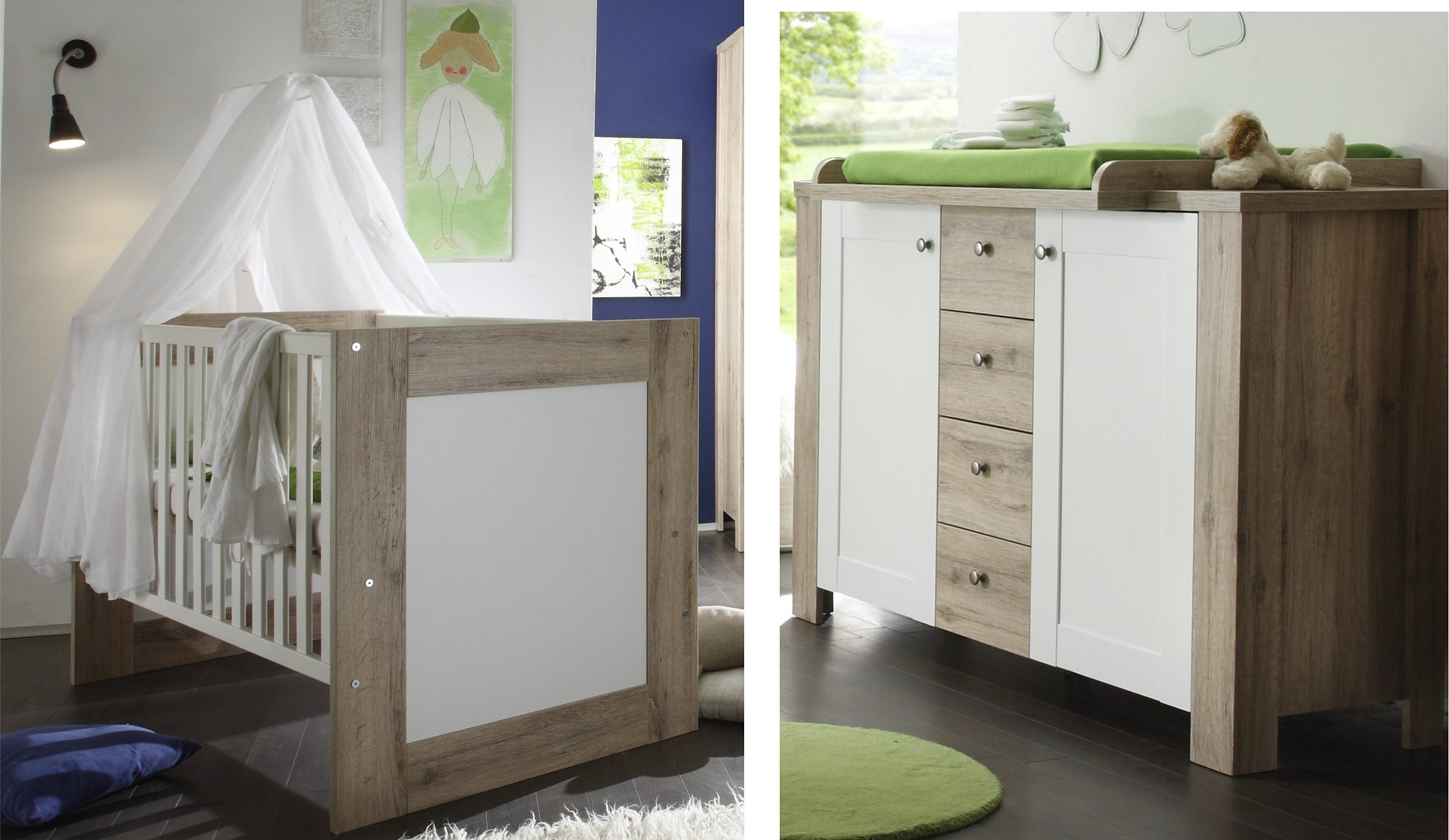Babyzimmer Spar-Set: Bett und Wickelkommde »Lupo«, in sanremo hell/ weiß matt