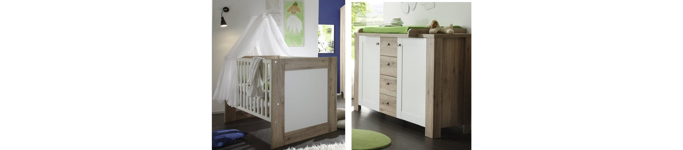 Spar-Set: Bett und Wickelkommde »Lupo«, in sanremo hell/ weiß matt