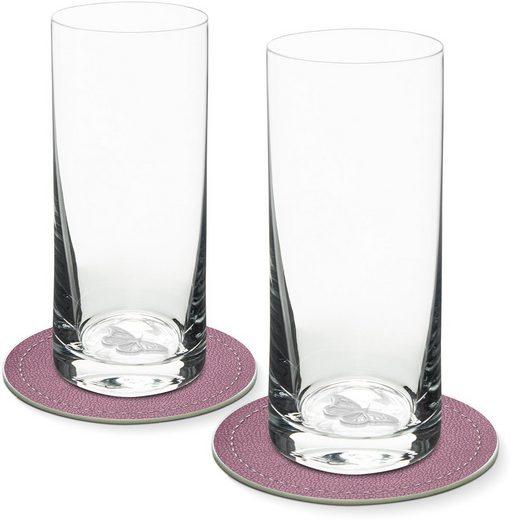 Contento Longdrinkglas, Glas, Schmetterling, 400 ml, 2 Gläser, 2 Untersetzer