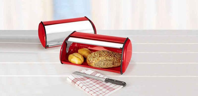 dynamic24 Brotkasten »Brotbox rot«, Edelstahl, Edelstahl Brot Aufbewahrung 42,5cm Frischhaltebox Brotbehälter rot