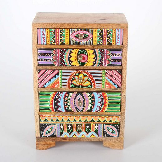Casa Moro Schmuckkasten »Mini-Kommode Indica 19,5x12x29 cm cm (B/T/H) aus Echtholz mit 5 bunten Schubladen, Handbemaltes Holz-Kästchen afrikanischer Stil, RK105«, Handmade