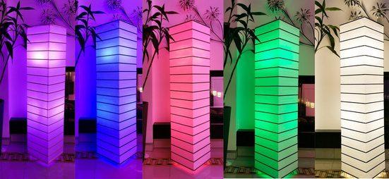 TRANGO LED Stehlampe »1214RGB«, 1214RGB LED Standlampe *EUROPA* Reispapierlampe mit Bambus Deko-Stäben Weiß Eckig *HANDMADE* inkl. 2x E14 LED Leuchtmittel - Multi Color Farbwechsel Farbsteuerung & warmweiß per Fernbedienung - Höhe ca. 125cm - Wohnzimmer Lampe - Reispapier Lampenschirm – Stehleuchte