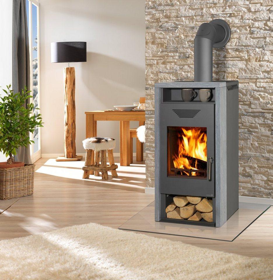 Kaminofen »Yara«, Naturstein, 8 kW, klares Design, Tee- & Holzfach in grau
