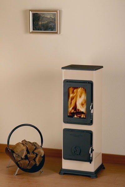 Werkstattofen »Bozen«, Stahl Cappuccino, 5 kW, emaillierter Korpus, Gusstüren in natur