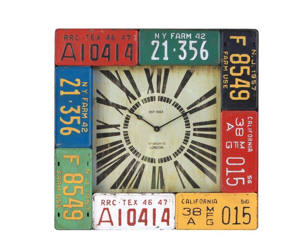 DELIFE Uhr Hajdar Mehrfarbig 71x71 cm Antik Optik Metall eckig Wanduhr in Farbig