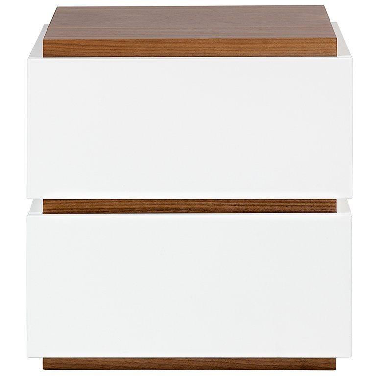 TemaHome Nachttisch mit 2 Schubladen in weiß matt »Slot 003« in weiß/nussbaum