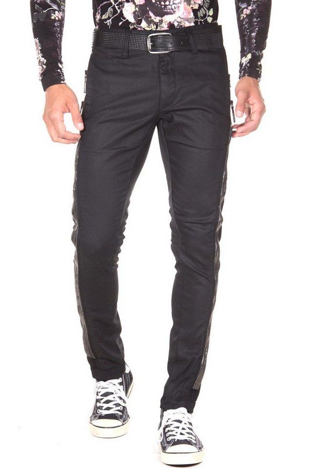 KINGZ Jeans slim fit in schwarz