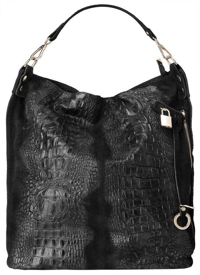 Samantha Look Leder Damen Shopper in schwarz
