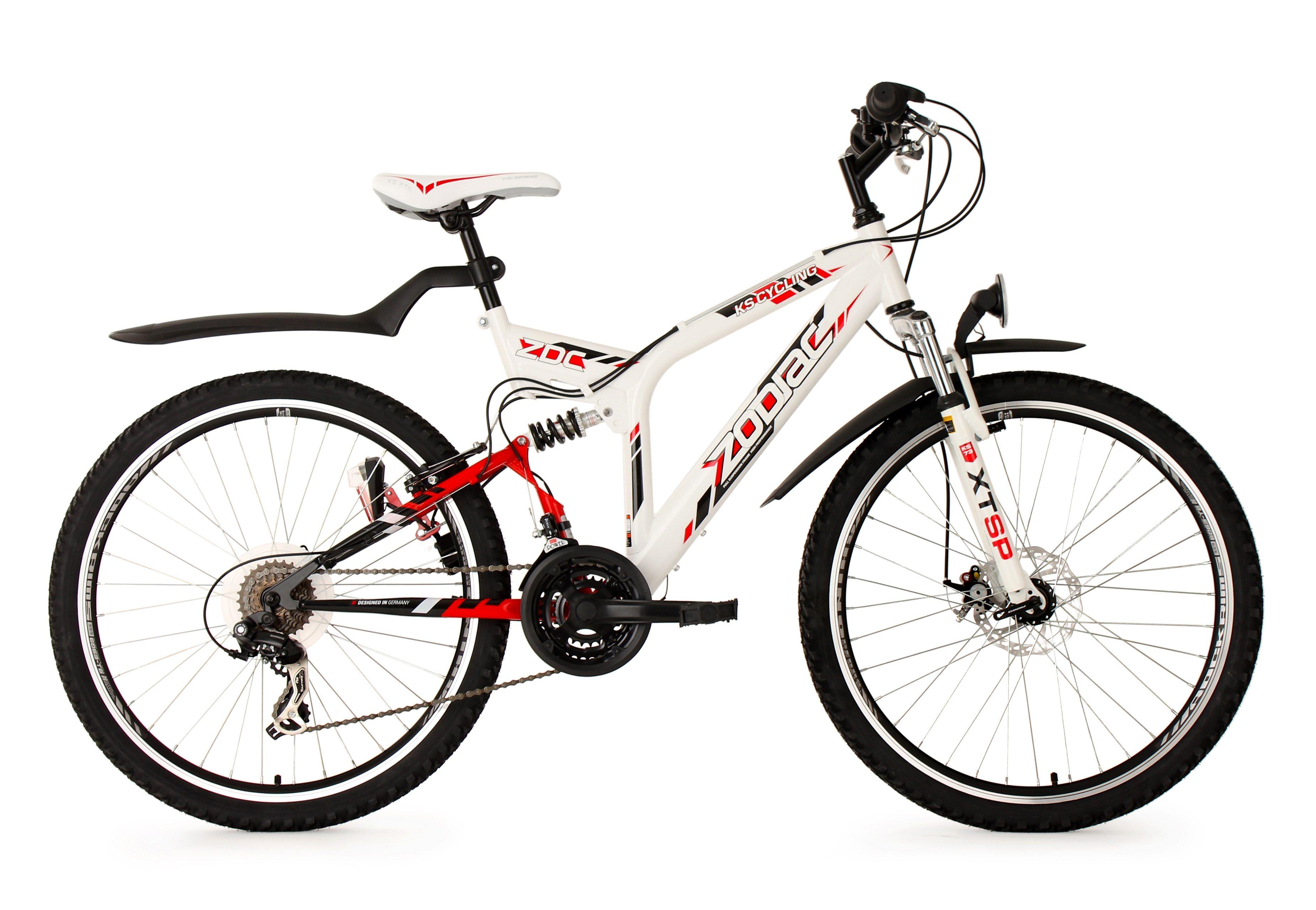 Fully-Mountainbike, 26 Zoll, SHIMANO 21 Gang Kettenschaltung, weiß-rot, »Zodiac«, KS Cycling