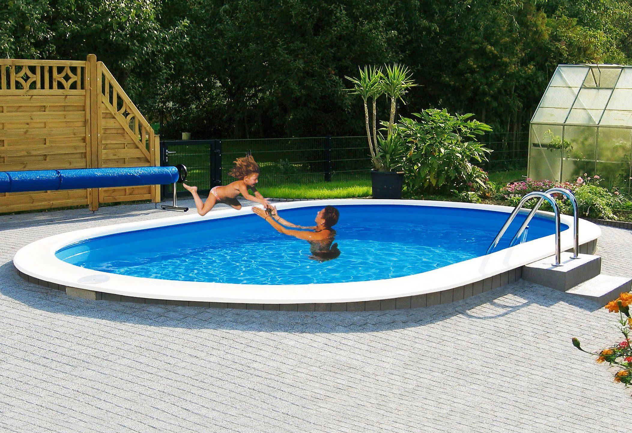 MYPOOL Ovalpool »Premium«, 737 x 360 x 120 cm, inkl. Bodenschutzvlies, Spezialhandlauf