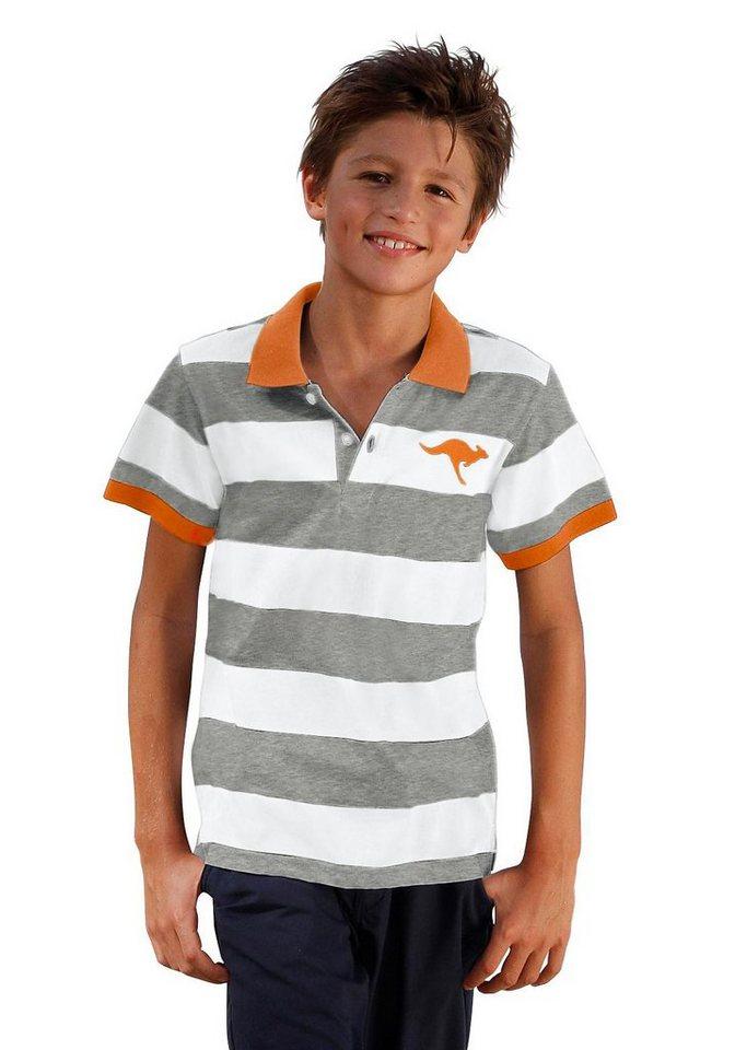 KangaROOS Poloshirt Blockringel mit Stickerei in grau-weiß