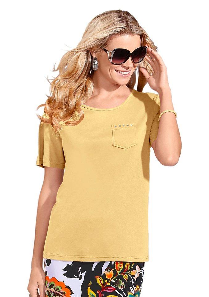 Classic Basics Shirt mit Rundhals-Ausschnitt in gelb