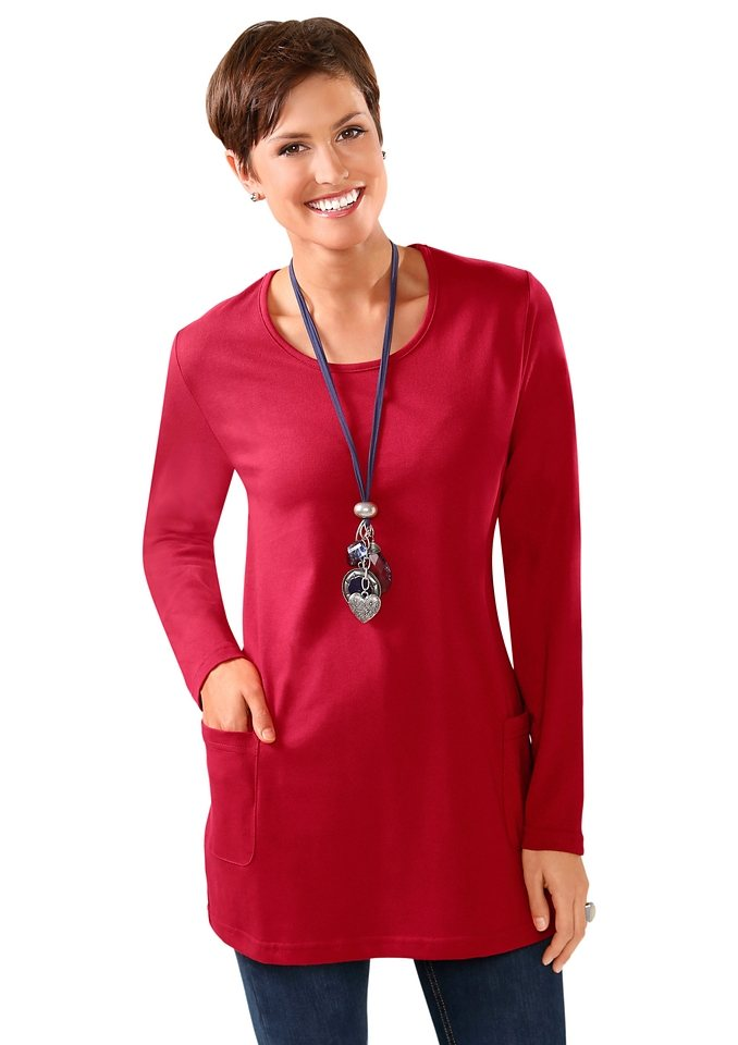 Classic Basics Longshirt mit Rundhals-Ausschnitt in rot