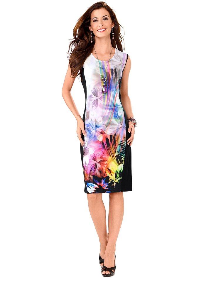 Classic Basics Jersey-Kleid mit breiten Trägern in bunt-bedruckt