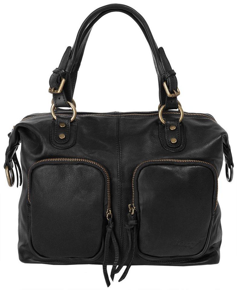Forty degrees Leder Damen Handtasche in schwarz