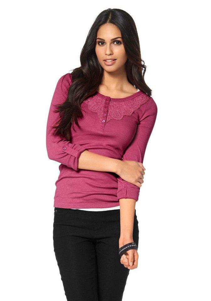 Boysen's Langarmshirt mit Spitzenbesatz in pink
