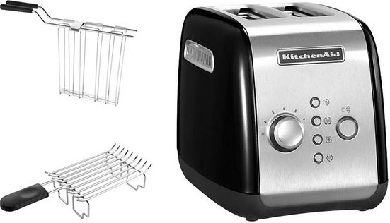 KitchenAid Toaster 5KMT221EOB mit Brötchenaufsatz und Sandwichzange, für 2 Scheiben, 1100 W