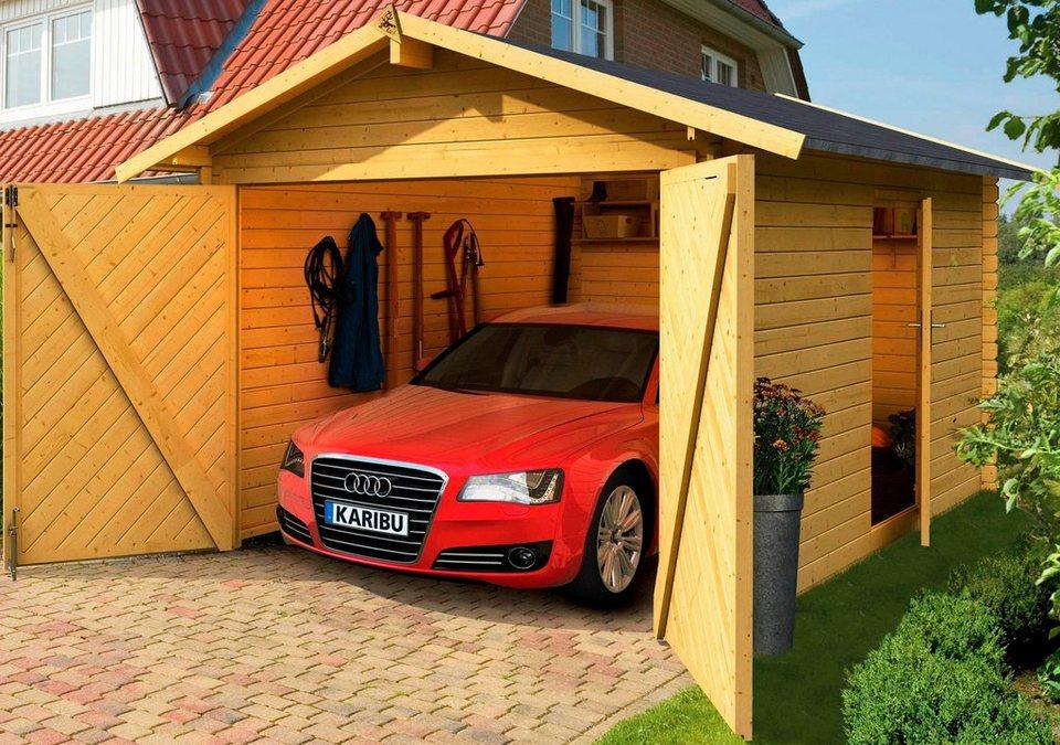 Karibu Set: Einzel-Garage »Blockbohlen 1«, natur inkl. Dachschindeln (BxT: 280x430 cm) in natur
