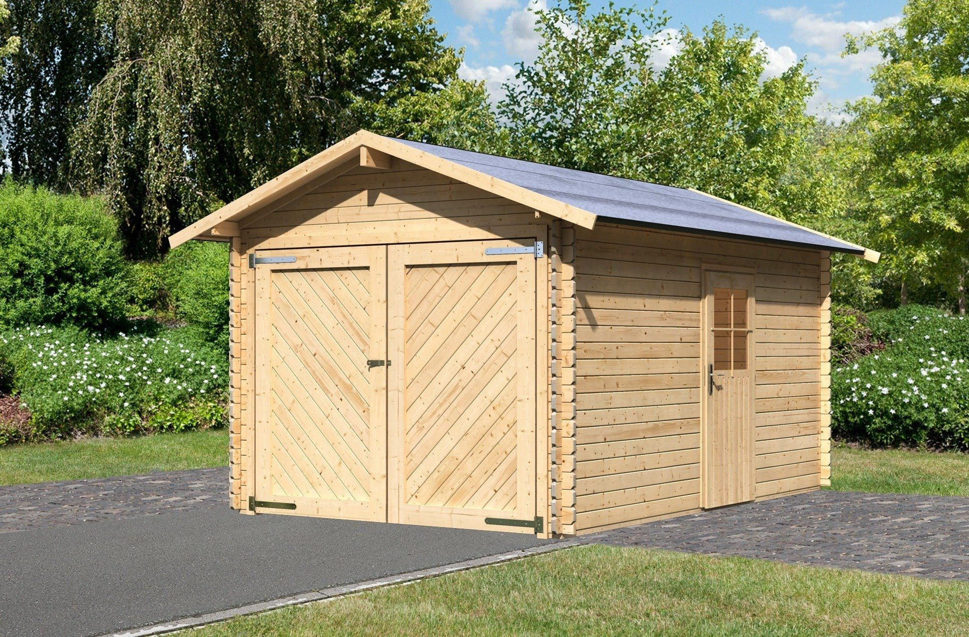 Karibu Einzel-Garage »Blockbohlen 1«, natur (BxT: 280x430 cm)
