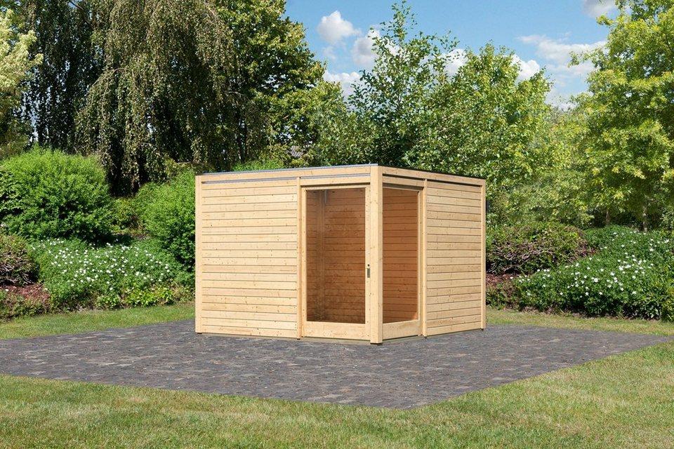 Gartenhaus »Cubus Eck (BxT: 320 x 320 cm)« in natur