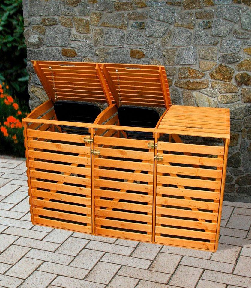 promadino mülltonnenbox , für 3x240 l aus holz, b/t/h: 202/92/122 cm