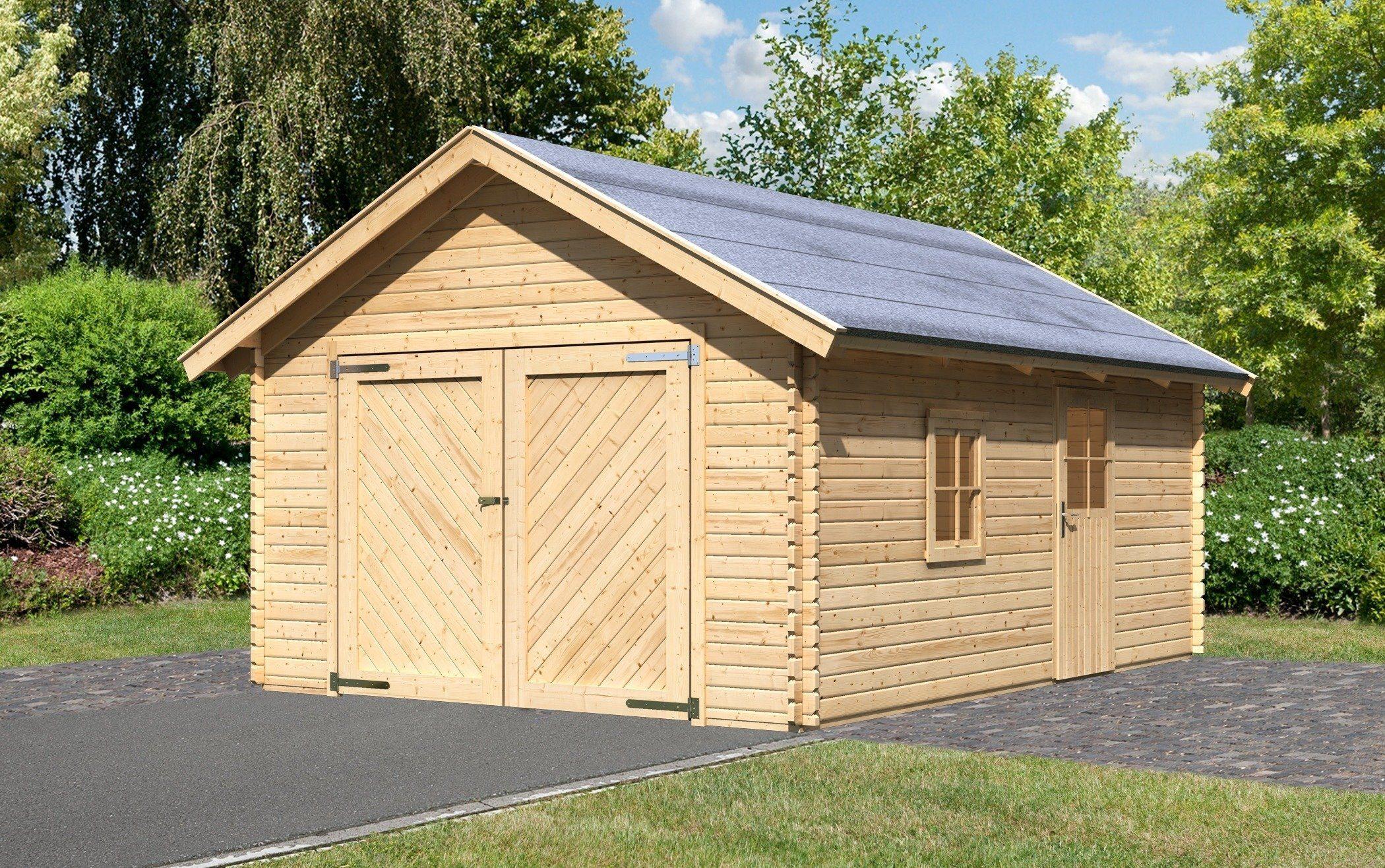 Karibu Einzel-Garage »Blockbohlen 2«, natur (BxT: 372x522 cm)