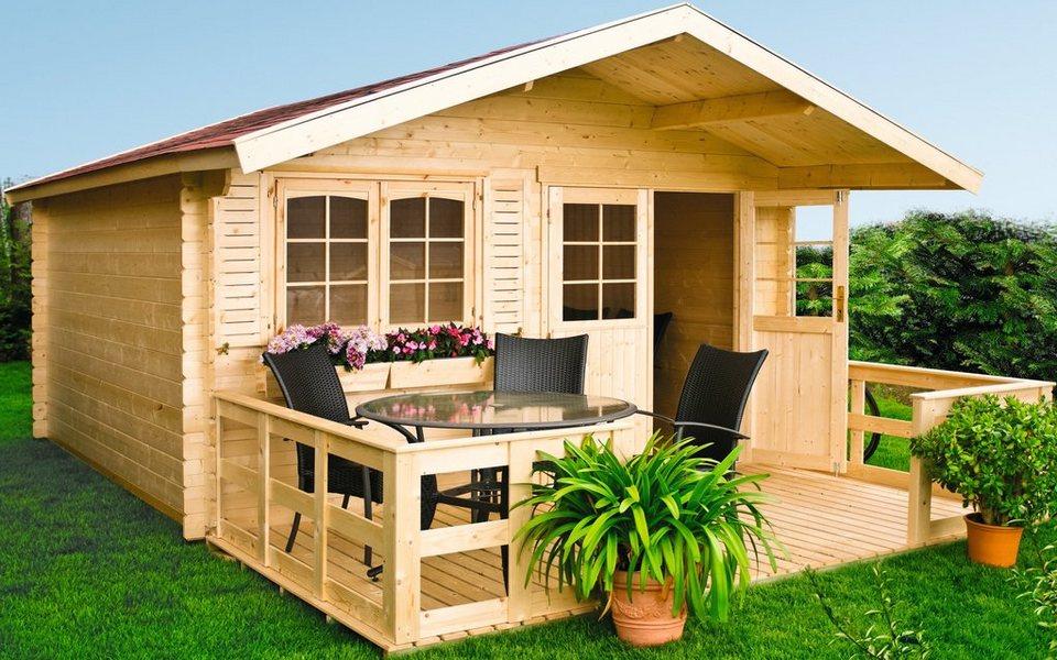 Set: Gartenhaus »Lillevilla 279 (BxT: 380 x 280 cm)«, BxT: 402x342 cm in natur