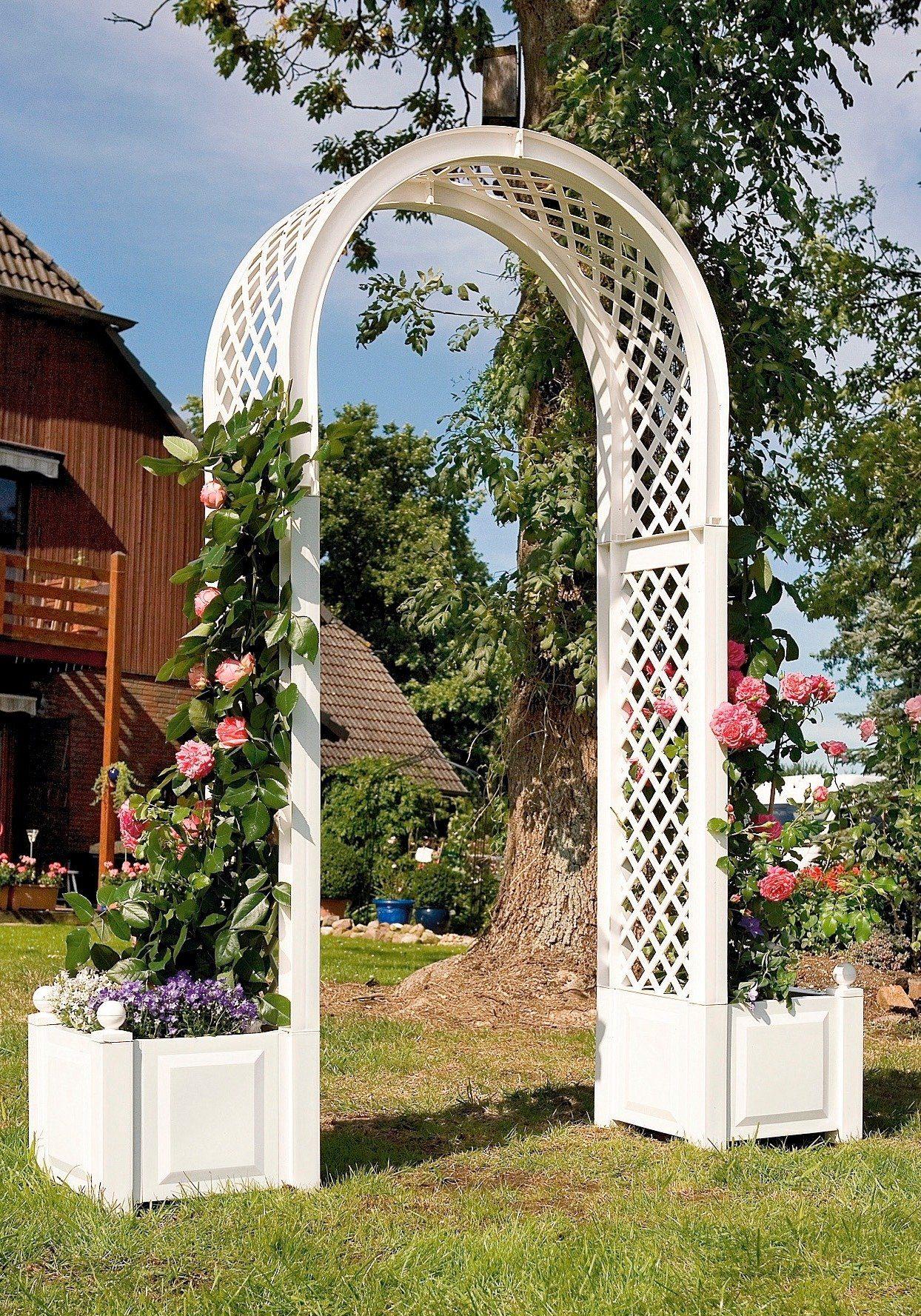 Rosenbogen inkl. 2 Pflanzkästen, weiß