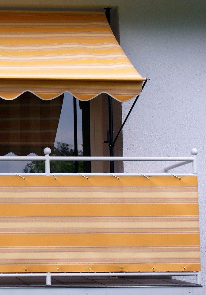 Balkonsichtschutz »Polyacryl, orange/beige« in 2 Höhen in rot