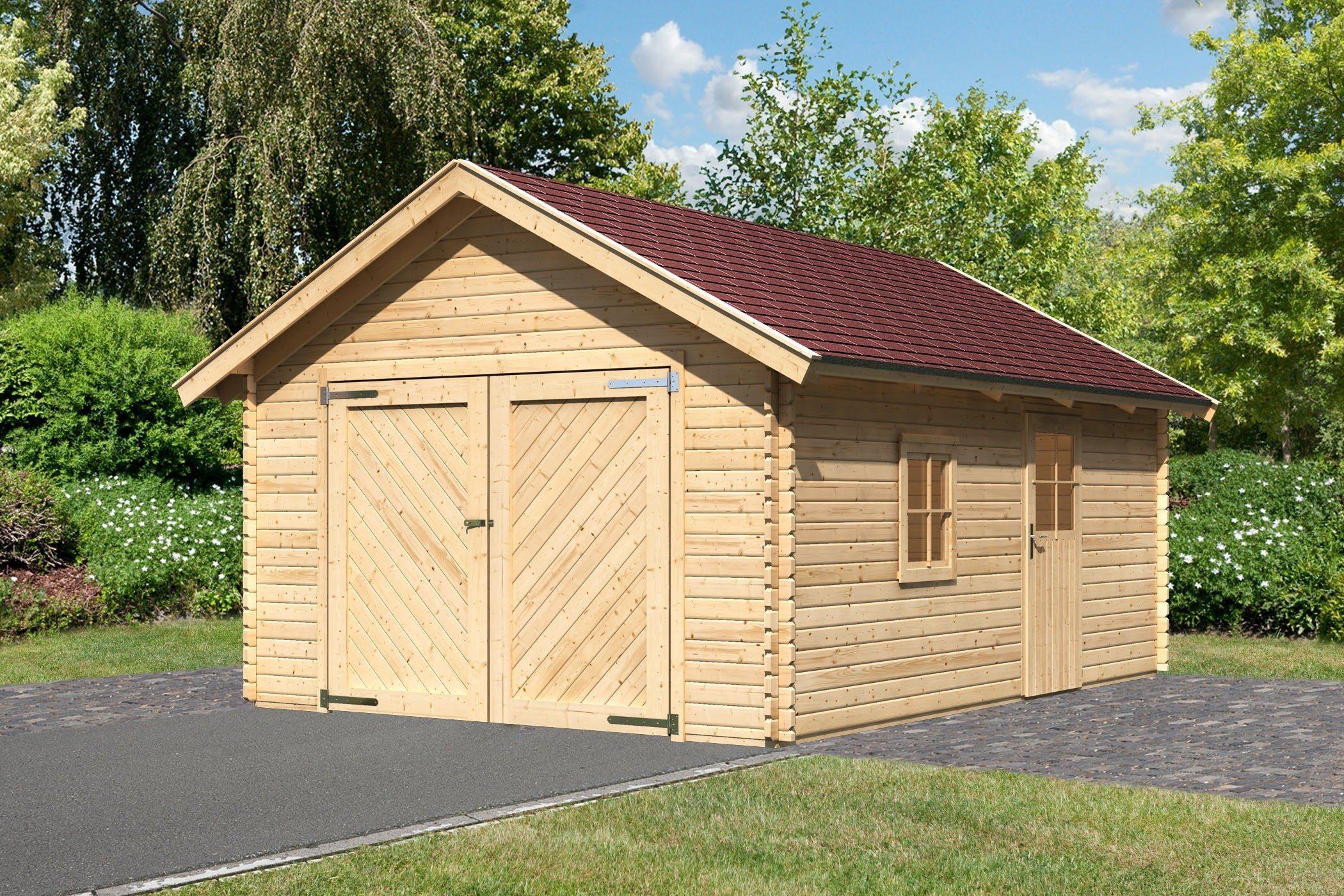 Karibu Set: Einzel-Garage »Blockbohlen 2«, natur (BxT: 372x522 cm)