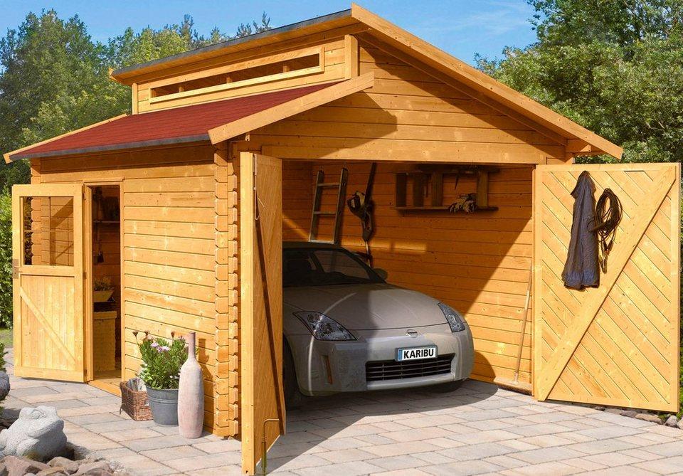 Karibu Set: Einzel-Garage »Blockbohlen«, natur (BxT: 310x430 cm) in natur