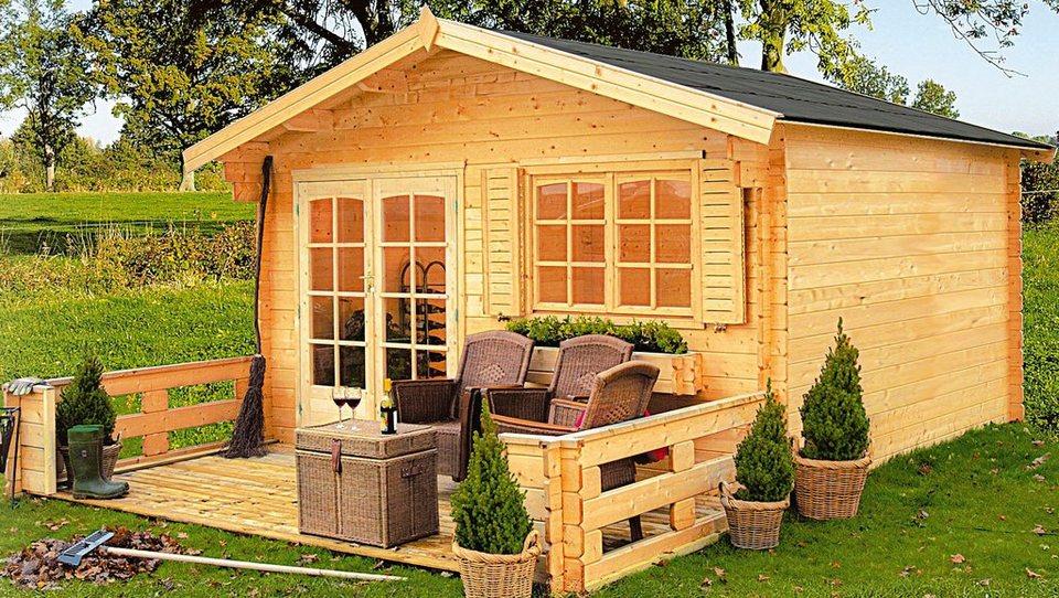 OUTDOOR LIFE PRODUCTS Gartenhaus »Montana 2«, BxT: 390x300 cm, 40 mm in natur